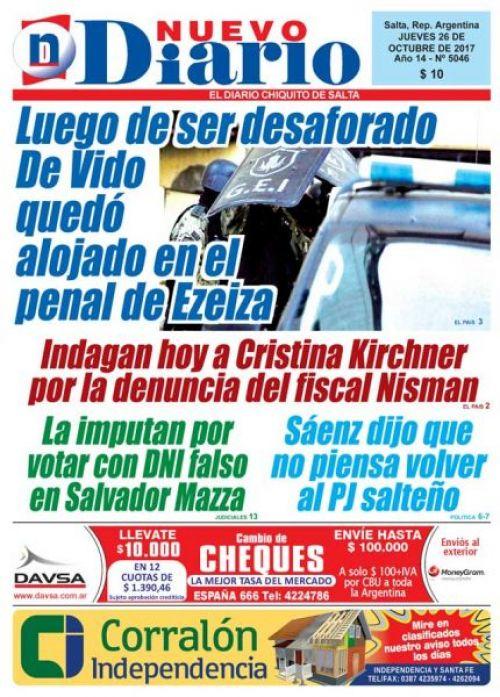 Tapa del 26/10/2017 Nuevo Diario de Salta