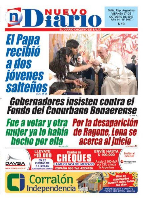 Tapa del 27/10/2017 Nuevo Diario de Salta