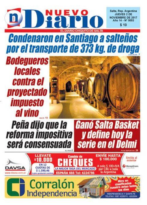 Tapa del 02/11/2017 Nuevo Diario de Salta