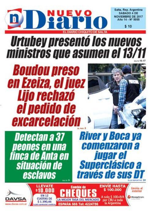 Tapa del 04/11/2017 Nuevo Diario de Salta