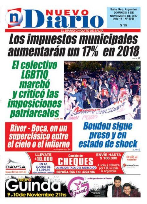 Tapa del 05/11/2017 Nuevo Diario de Salta