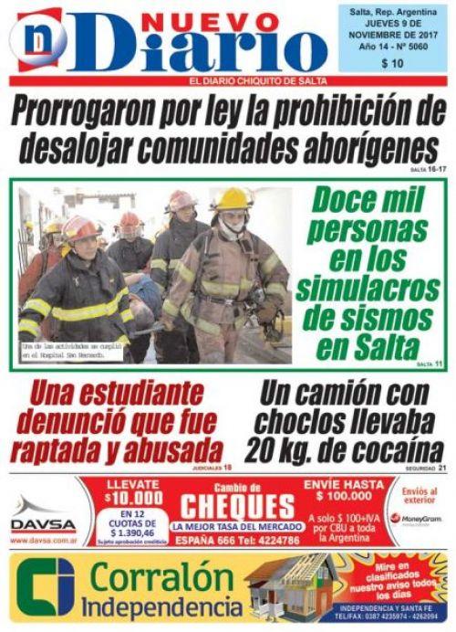 Tapa del 09/11/2017 Nuevo Diario de Salta