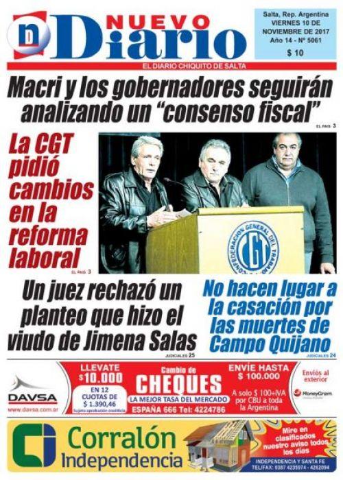 Tapa del 10/11/2017 Nuevo Diario de Salta