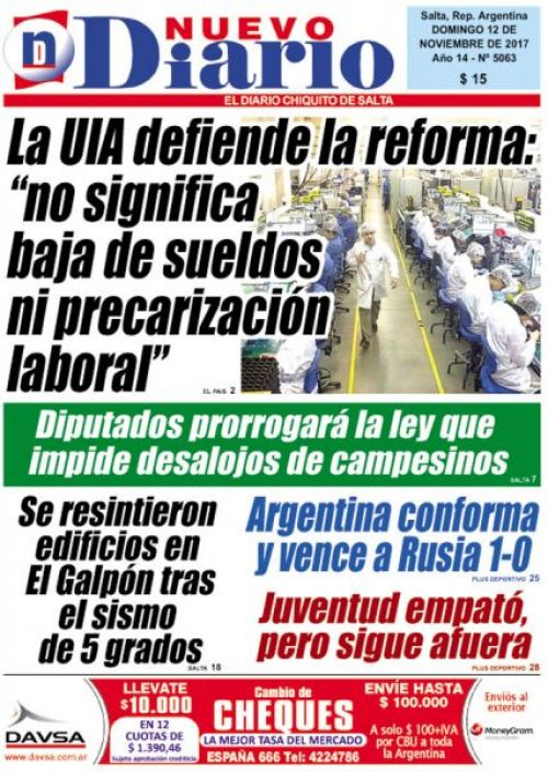 Tapa del 12/11/2017 Nuevo Diario de Salta