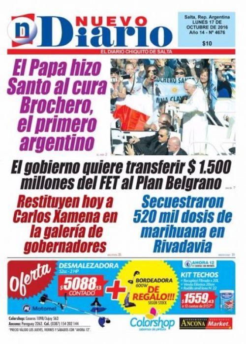 Tapa del 17/10/2016 Nuevo Diario de Salta