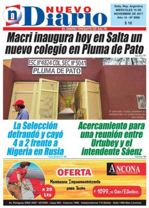 Tapa del 15/11/2017 Nuevo Diario de Salta