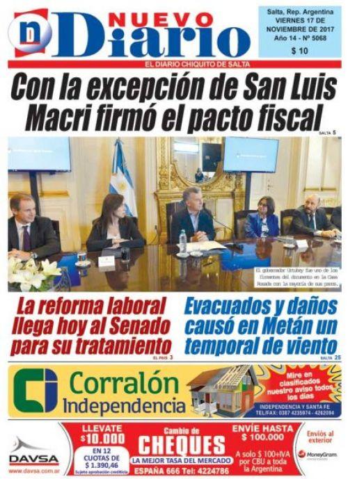 Tapa del 17/11/2017 Nuevo Diario de Salta