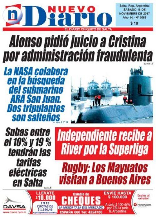 Tapa del 18/11/2017 Nuevo Diario de Salta