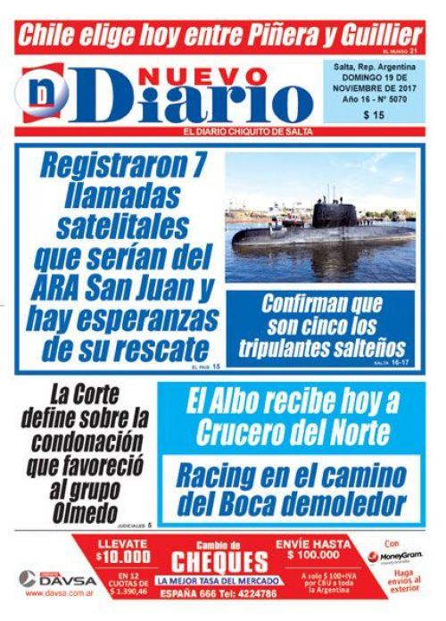 Tapa del 19/11/2017 Nuevo Diario de Salta