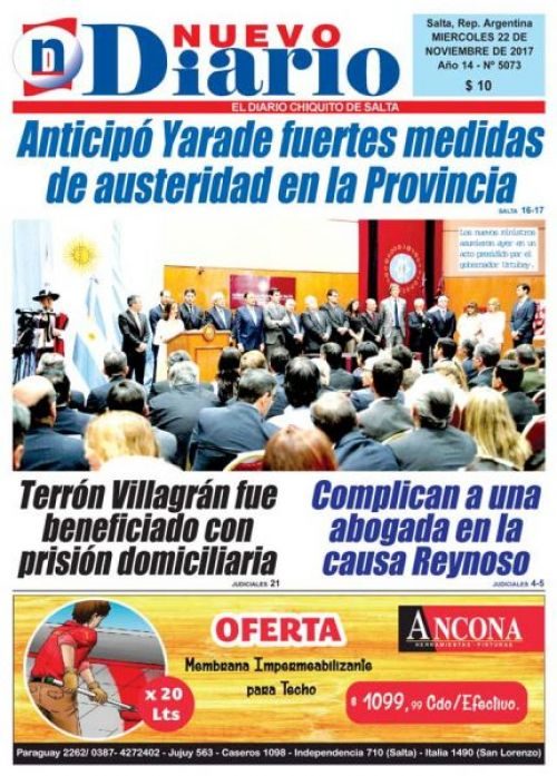 Tapa del 22/11/2017 Nuevo Diario de Salta