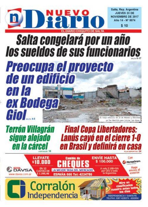 Tapa del 23/11/2017 Nuevo Diario de Salta