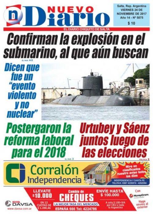 Tapa del 24/11/2017 Nuevo Diario de Salta