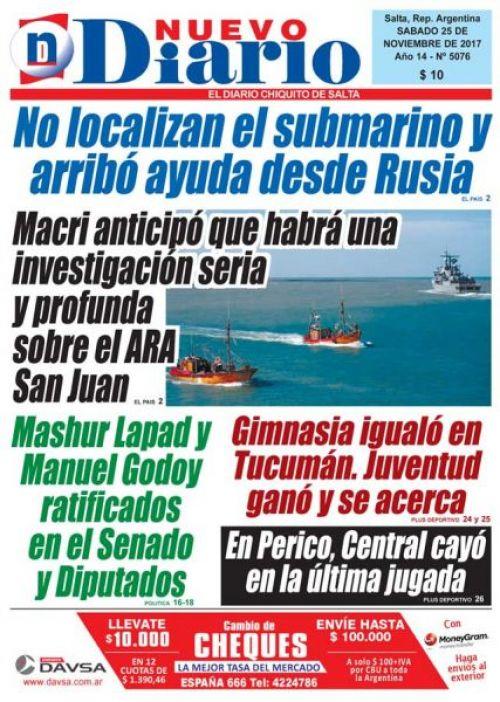 Tapa del 25/11/2017 Nuevo Diario de Salta