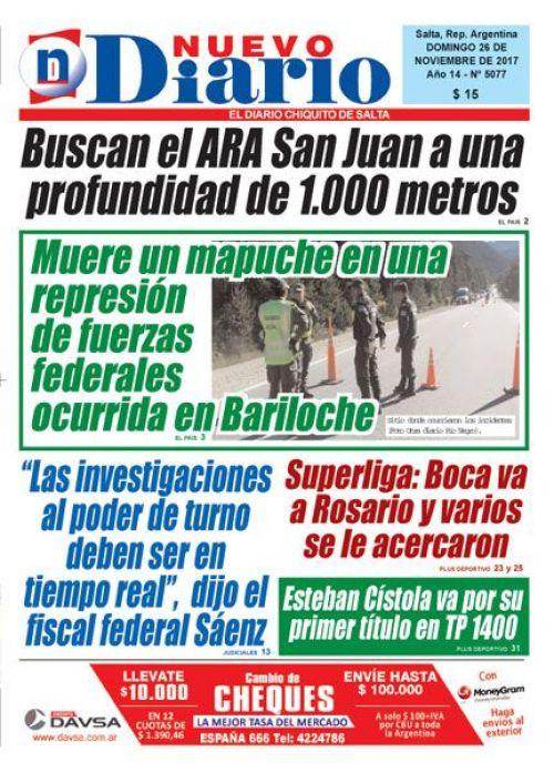 Tapa del 26/11/2017 Nuevo Diario de Salta