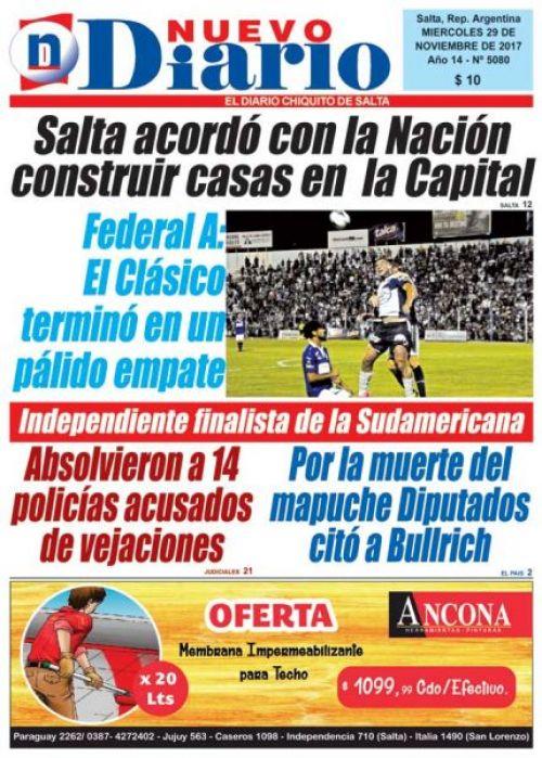 Tapa del 29/11/2017 Nuevo Diario de Salta