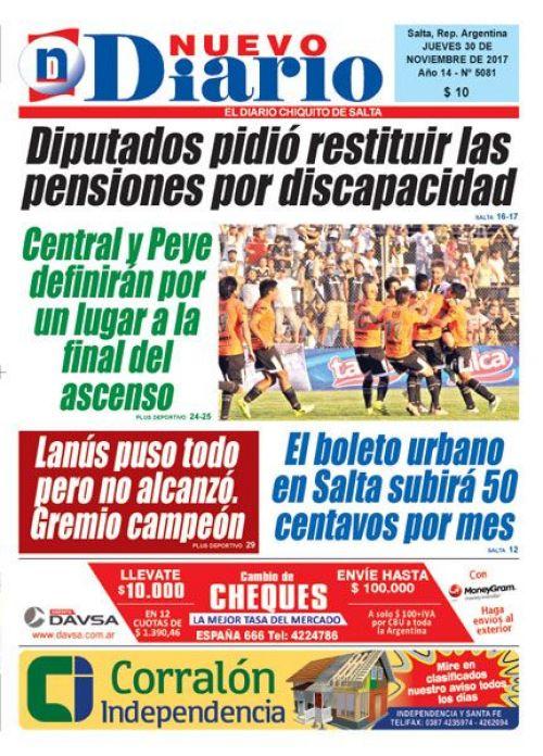 Tapa del 30/11/2017 Nuevo Diario de Salta