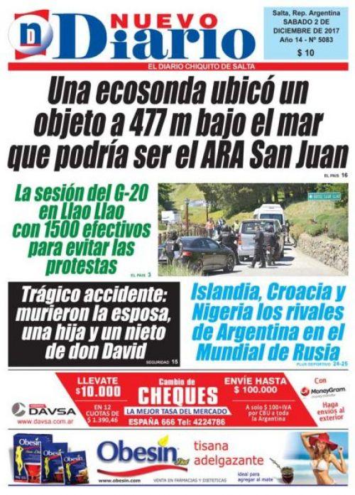 Tapa del 02/12/2017 Nuevo Diario de Salta