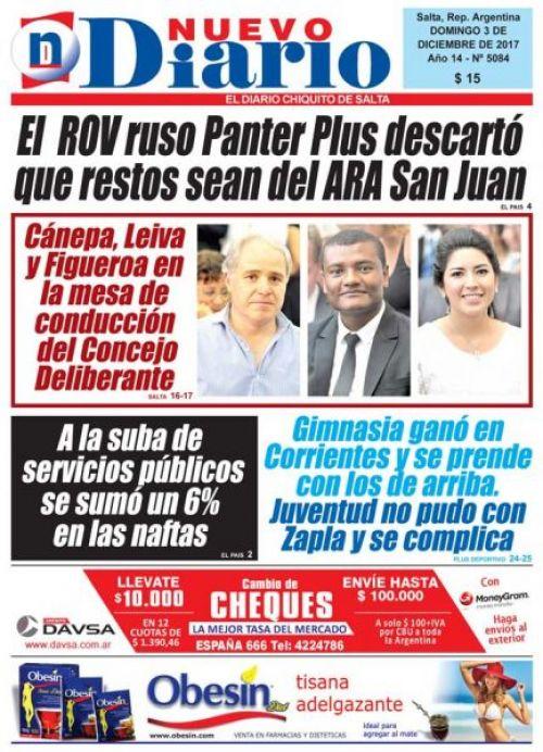 Tapa del 03/12/2017 Nuevo Diario de Salta