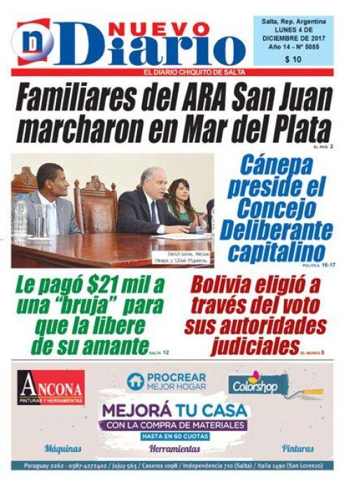Tapa del 04/12/2017 Nuevo Diario de Salta