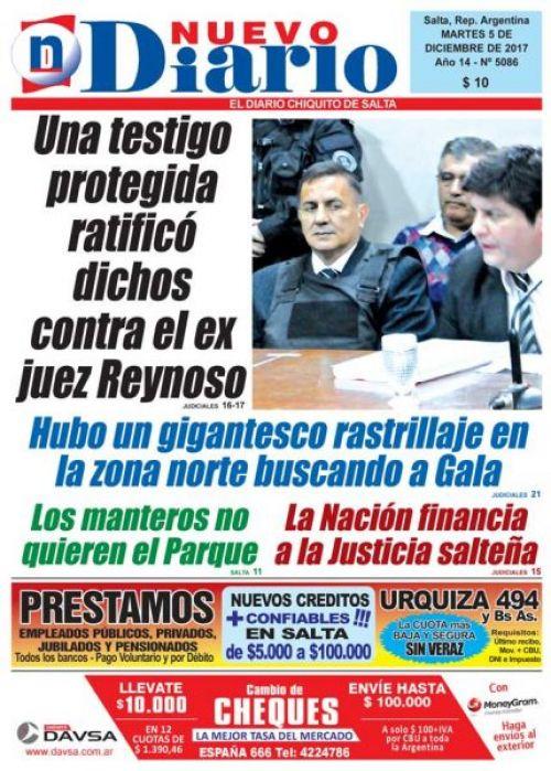 Tapa del 05/12/2017 Nuevo Diario de Salta