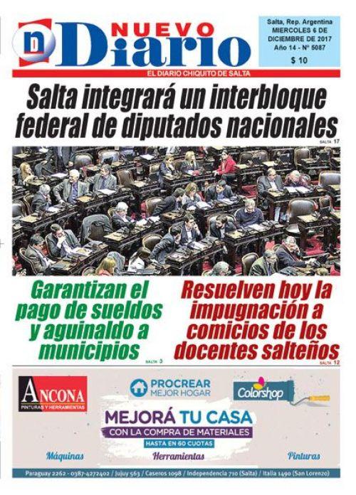 Tapa del 06/12/2017 Nuevo Diario de Salta