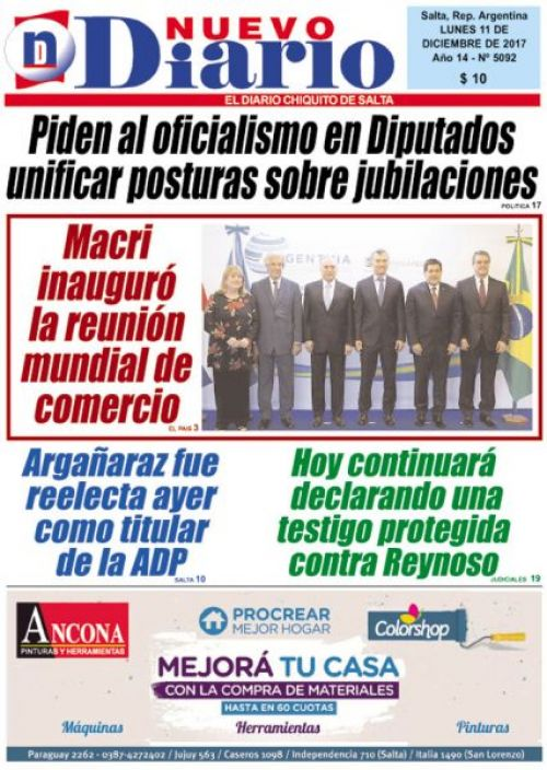 Tapa del 11/12/2017 Nuevo Diario de Salta