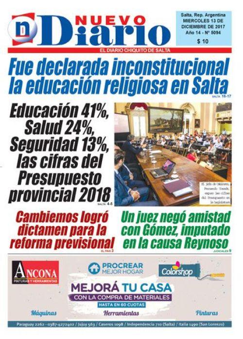 Tapa del 13/12/2017 Nuevo Diario de Salta