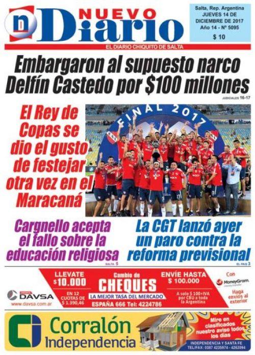 Tapa del 14/12/2017 Nuevo Diario de Salta