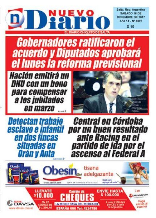 Tapa del 16/12/2017 Nuevo Diario de Salta