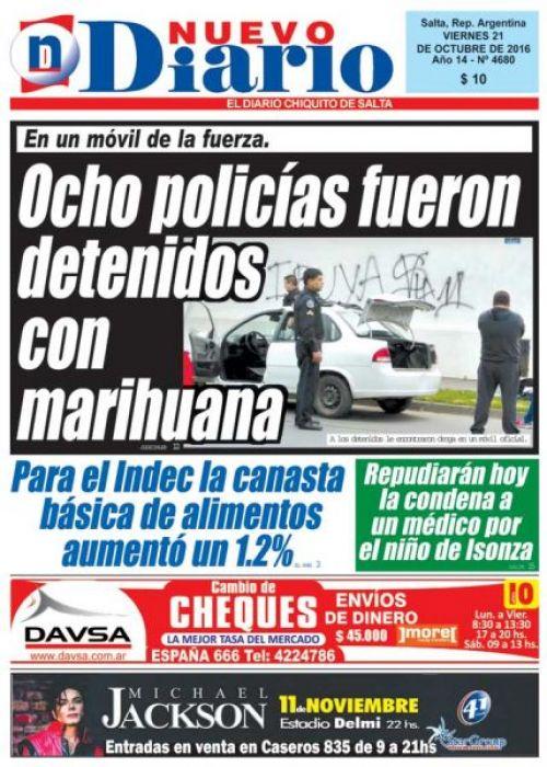Tapa del 21/10/2016 Nuevo Diario de Salta