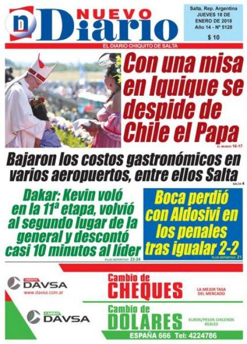 Tapa del 18/01/2018 Nuevo Diario de Salta