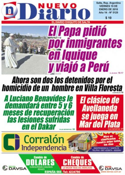 Tapa del 19/01/2018 Nuevo Diario de Salta