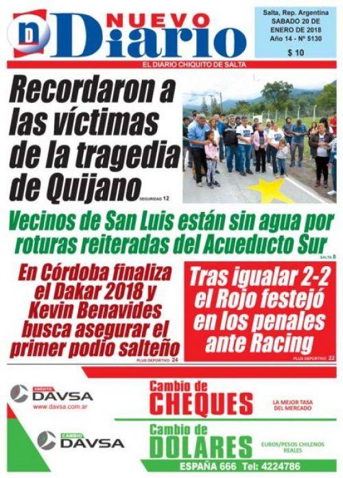 Tapa del 20/01/2018 Nuevo Diario de Salta