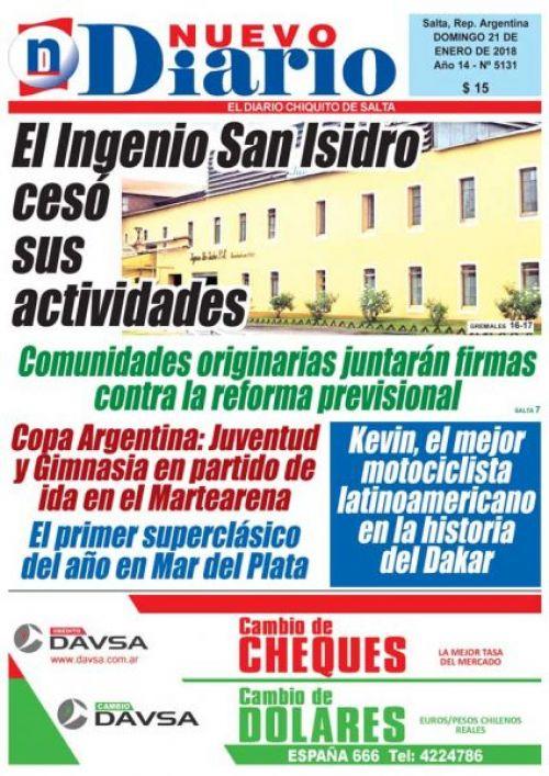 Tapa del 21/01/2018 Nuevo Diario de Salta