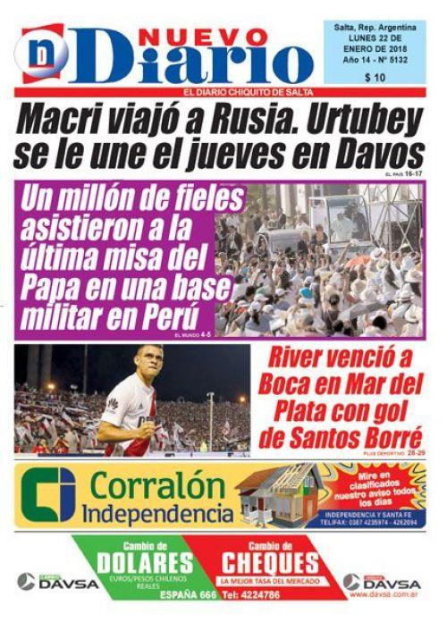 Tapa del 22/01/2018 Nuevo Diario de Salta
