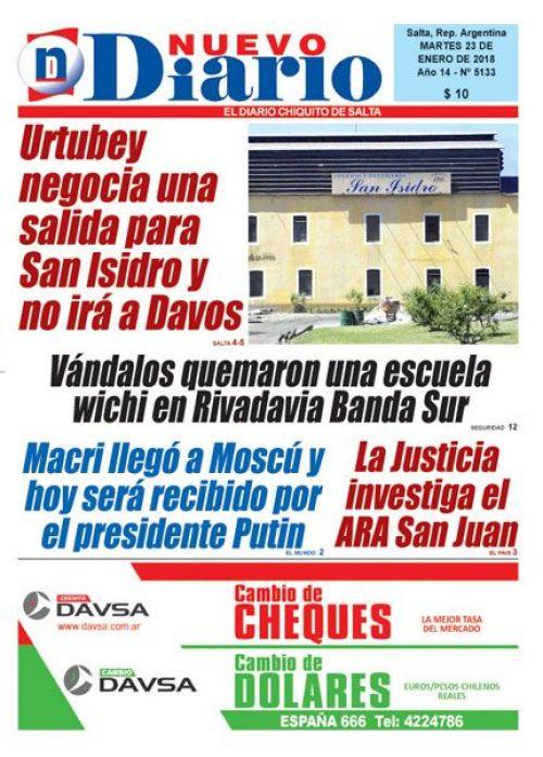 Tapa del 23/01/2018 Nuevo Diario de Salta