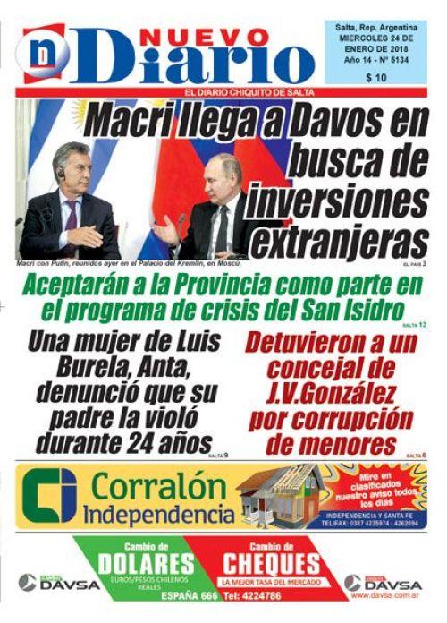Tapa del 24/01/2018 Nuevo Diario de Salta