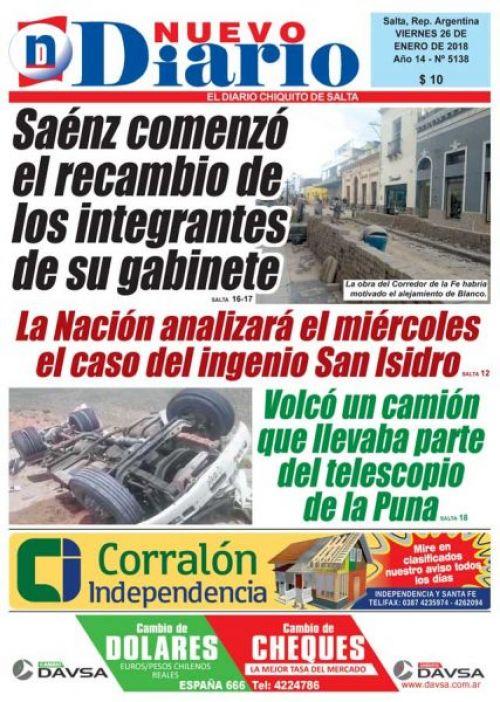 Tapa del 26/01/2018 Nuevo Diario de Salta
