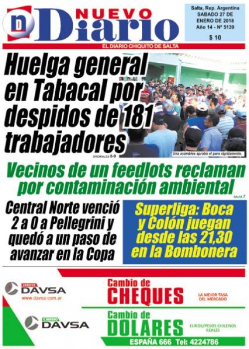 Tapa del 27/01/2018 Nuevo Diario de Salta