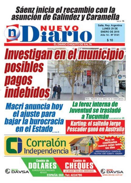 Tapa del 29/01/2018 Nuevo Diario de Salta