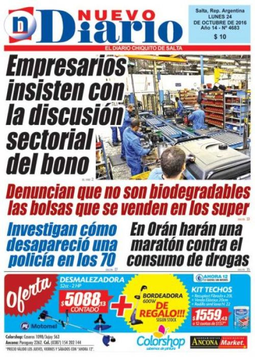 Tapa del 24/10/2016 Nuevo Diario de Salta