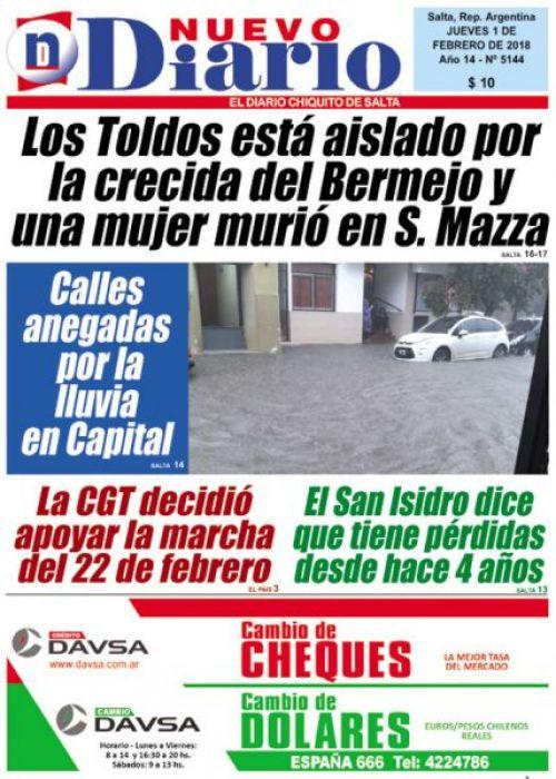 Tapa del 01/02/2018 Nuevo Diario de Salta