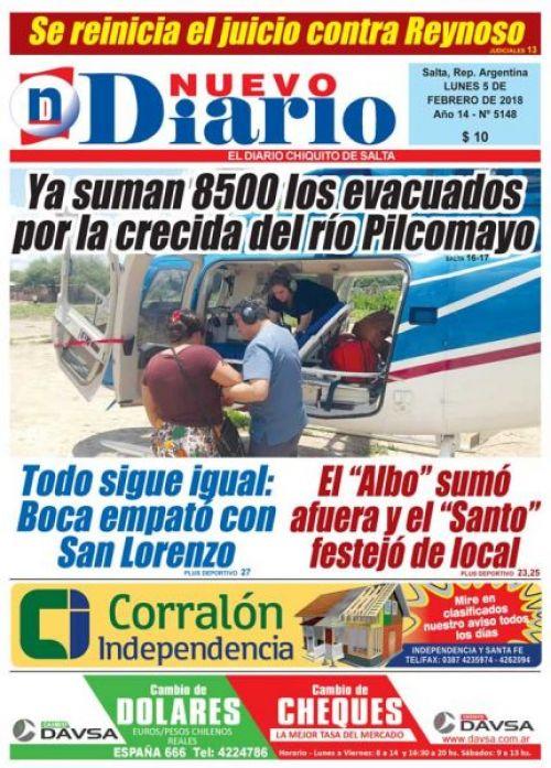 Tapa del 05/02/2018 Nuevo Diario de Salta