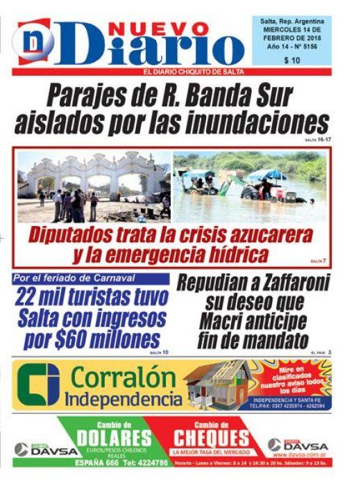 Tapa del 14/02/2018 Nuevo Diario de Salta