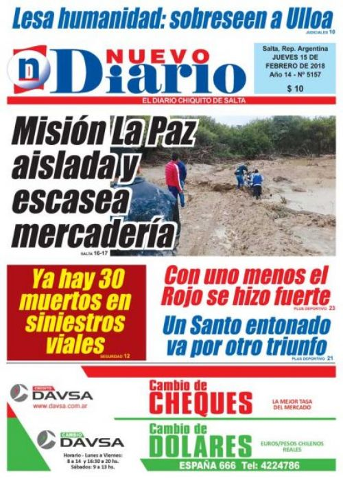 Tapa del 15/02/2018 Nuevo Diario de Salta