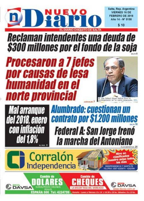 Tapa del 16/02/2018 Nuevo Diario de Salta