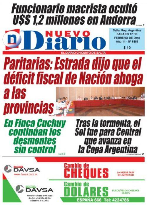 Tapa del 17/02/2018 Nuevo Diario de Salta