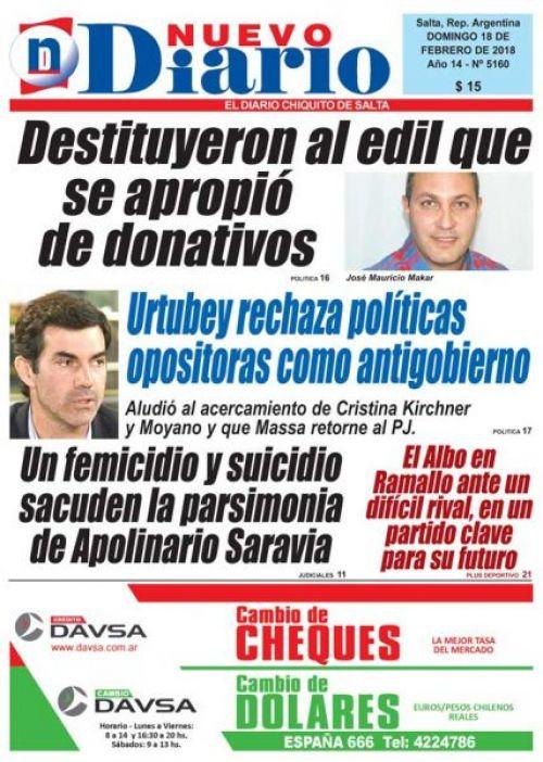 Tapa del 18/02/2018 Nuevo Diario de Salta
