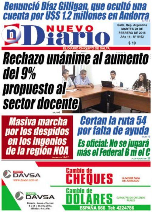 Tapa del 20/02/2018 Nuevo Diario de Salta