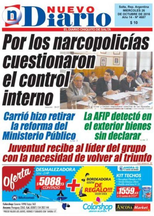 Tapa del 26/10/2016 Nuevo Diario de Salta